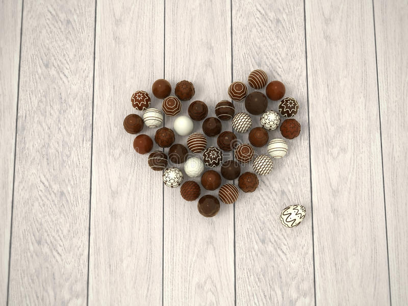 Chocolate Easter eggs heart on white wooden floor - top view stock images