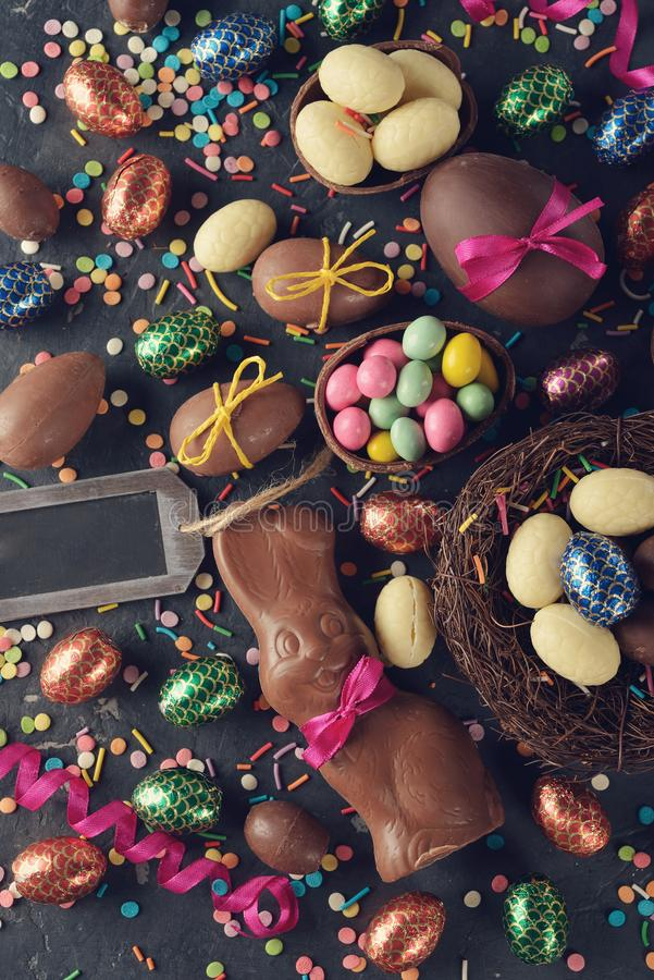 Chocolate Easter sweets. On a gray background stock photos