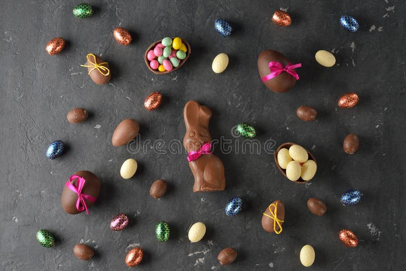 Chocolate Easter sweets. On a gray background royalty free stock images