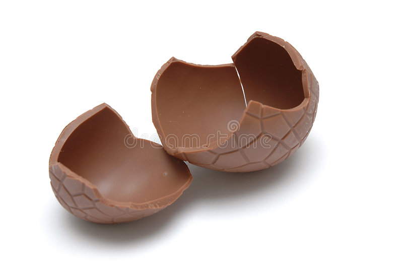 Chocolate Egg (cracked) stock images