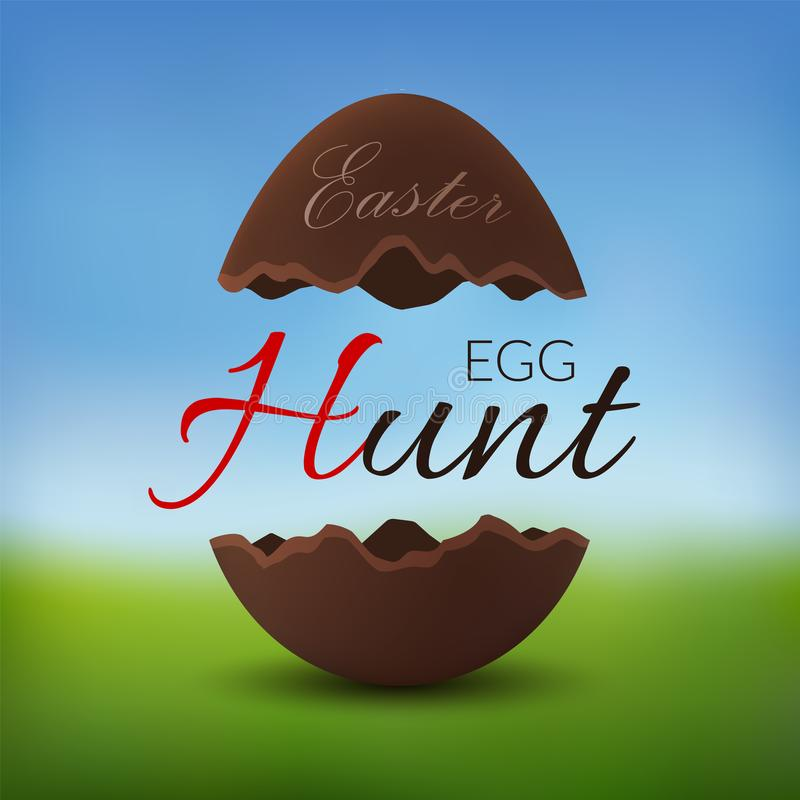 Chocolate egg 3D Happy Easter. Egg Hunt text. Broken brown Easter egg, blurred green grass field, blue sky meadow royalty free illustration