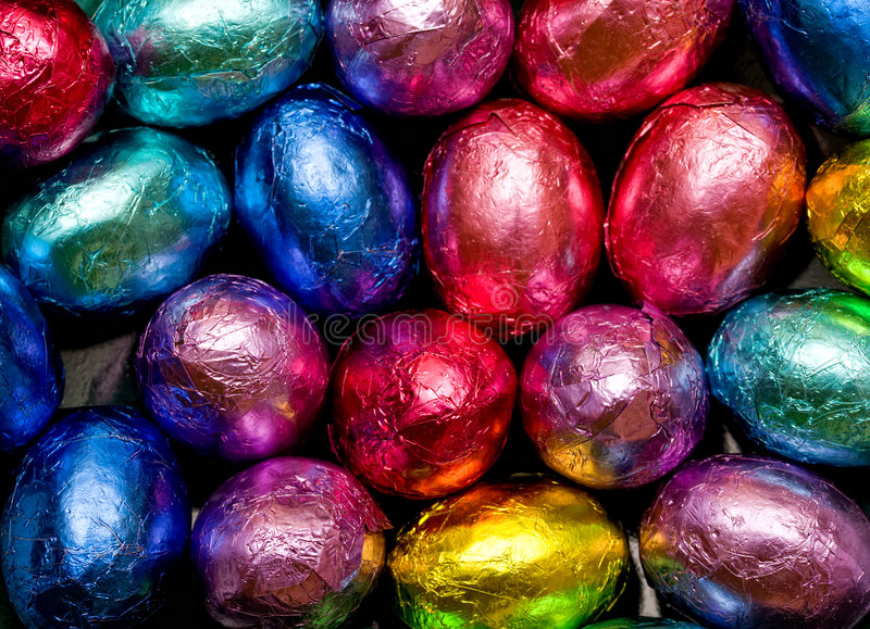 Download Chocolate eggs stock photo. Image of treat, purple, foil - 8929158