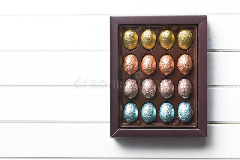 Chocolate eggs in box royalty free stock photo