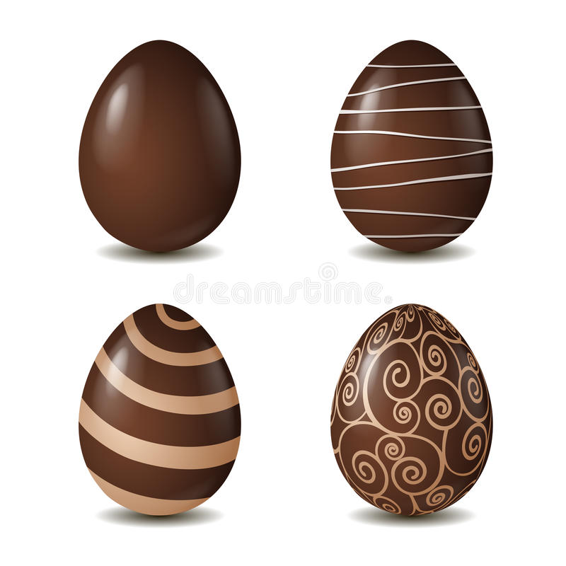 Chocolate eggs collection on white. Background. Vector illustration stock illustration
