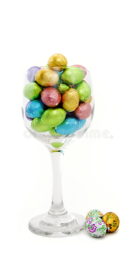 Chocolate Eggs in Glass stock images