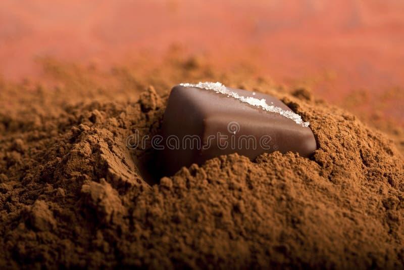 Chocolate em um cacau do od do montão fotografia de stock