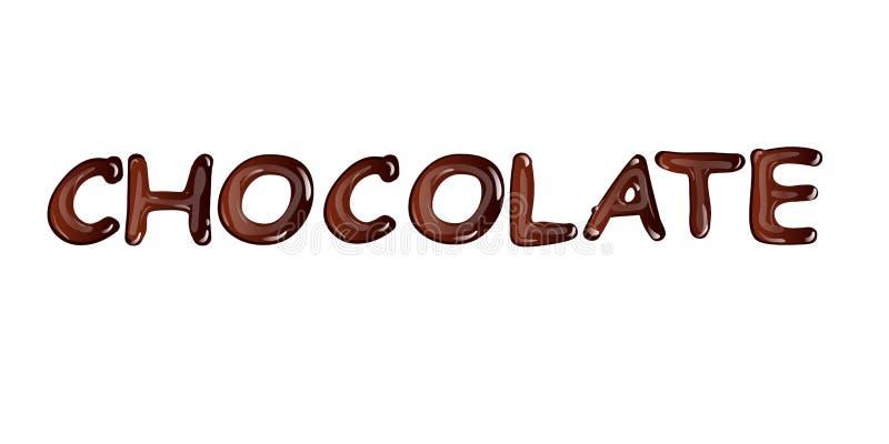 Chocolate escuro líquido isolado no fundo branco ilustração do vetor