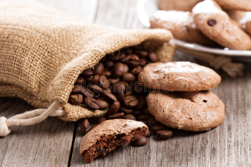 Chocolate espresso meringue cookies. On a table stock images