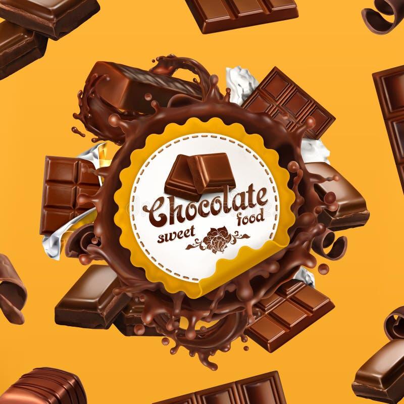 Chocolate, etiqueta do vetor 3d ilustração royalty free