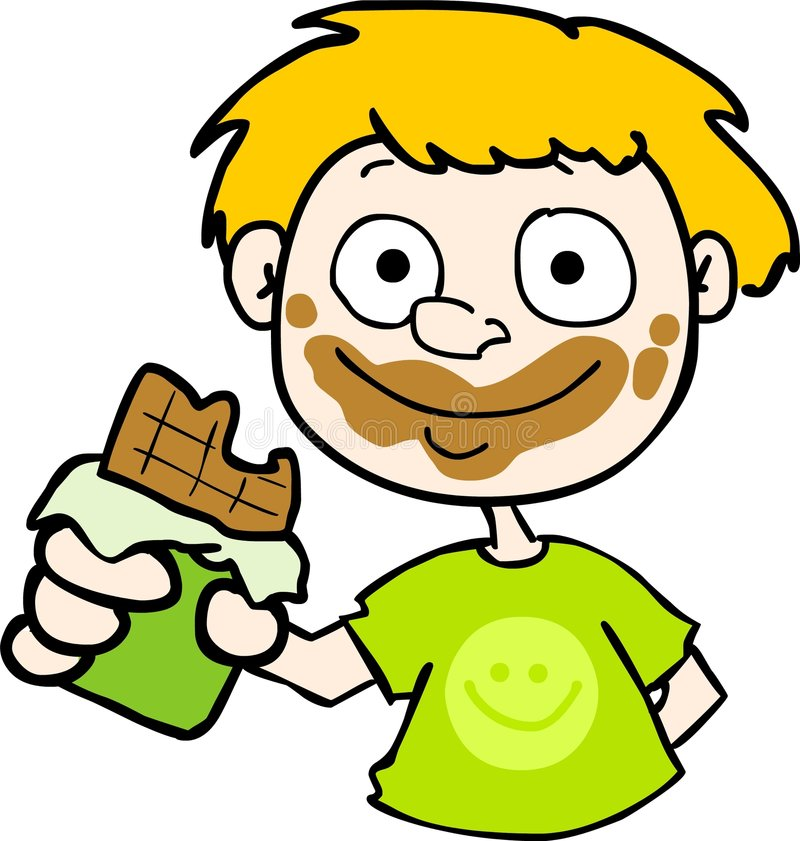 Chocolate on the face! royalty free illustration