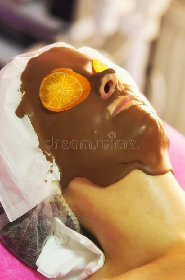 Chocolate face treatment royalty free stock image
