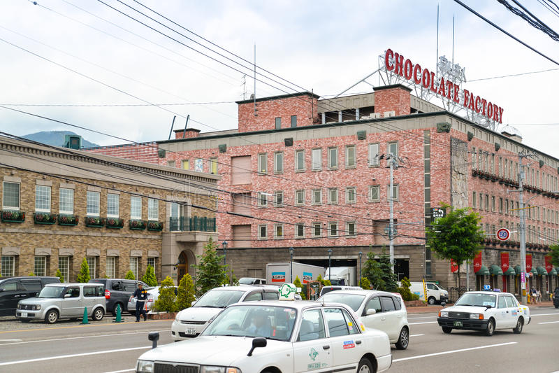 Chocolate factory, Sapporo, Hokkaido, Japan. Sapporo, Japan - August 7, 2014: Chocolate factory or Shiroi Koibito Park can be seen from another side of the royalty free stock photography