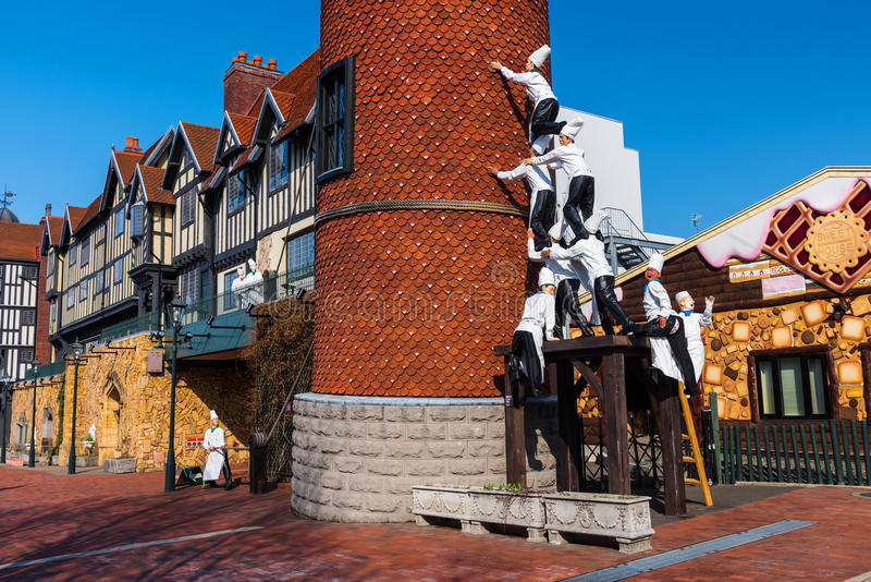 Chocolate factory. SAPPORO, JAPAN -APRIL 25, 2016: Many chefs monuments secure building at Chocolate factory Shiroi Koibito theme park by Ishiya, a local royalty free stock photos