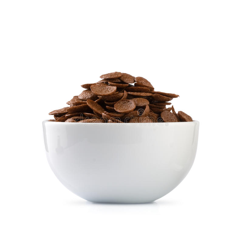 Chocolate flakes. In a white bowl stock image