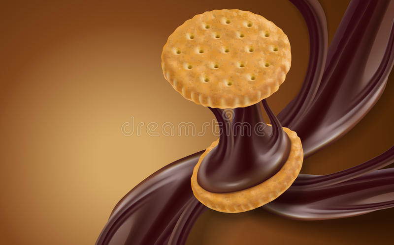 Chocolate flow and cookie. Element, brown background, 3d illustration stock illustration