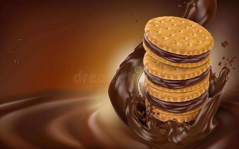 Chocolate flow and cookie. Element, dark brown background, 3d illustration stock illustration