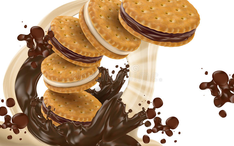 Chocolate flow and cookie. Flying chocolate sandwich cookies, transparent background 3d illustration stock illustration