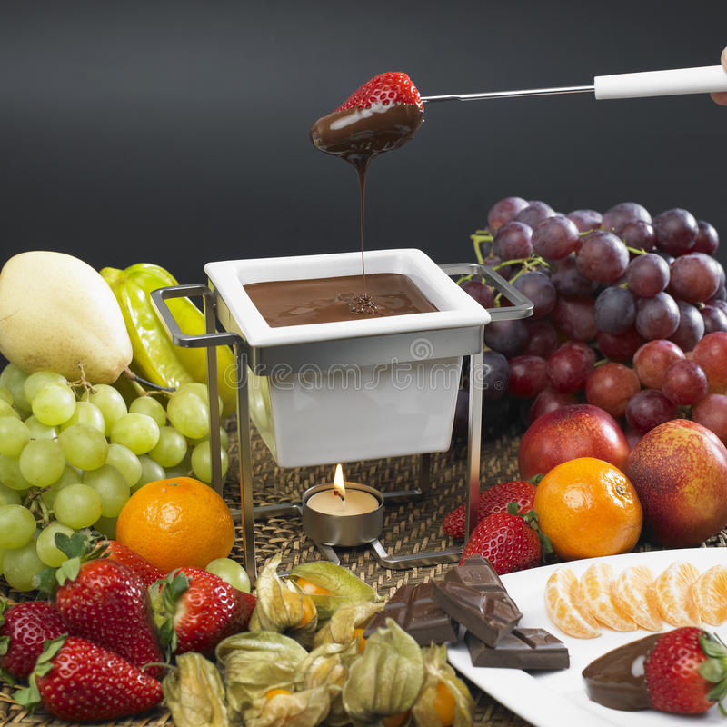 Download Chocolate fondue stock photo. Image of grape, close, orange - 17019260