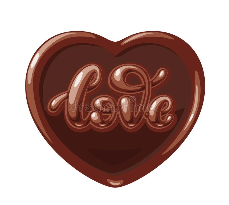 Chocolate in the form of heart with Love word isolated on white background. Vector lettering vector illustration