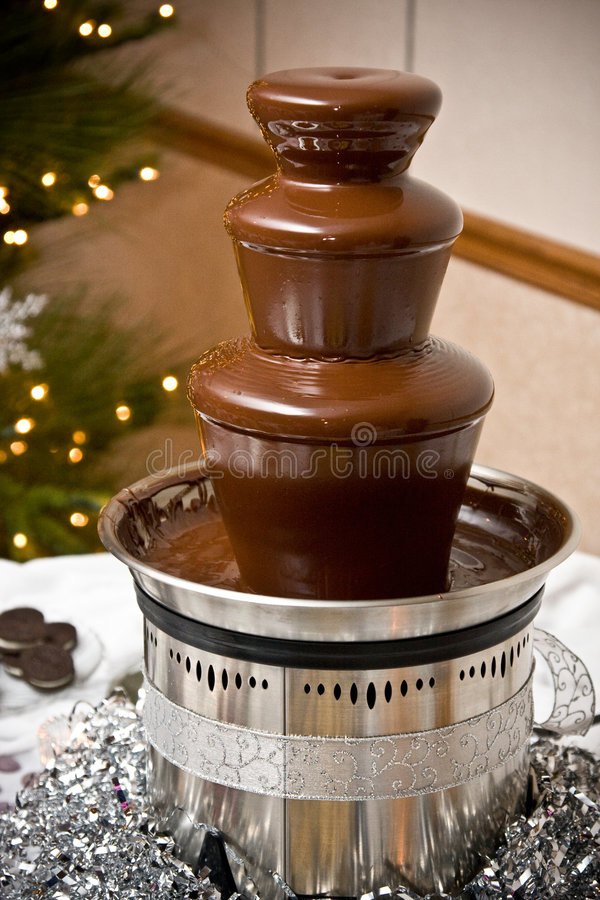 Chocolate fountain stock photo