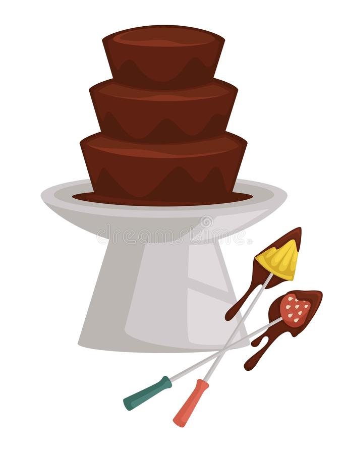 Chocolate fountain and fruits on fork fondue pineapple and strawberry. Fondue fruit and berry chocolate fountain pineapple and strawberry on fork vector dessert royalty free illustration