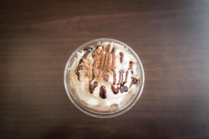 Chocolate frappe with whipped cream. royalty free stock photos