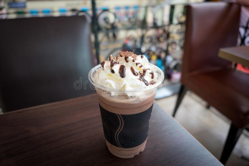 Chocolate frappe with whipped cream. royalty free stock image