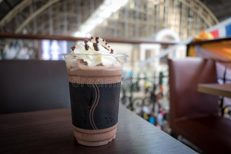 Chocolate frappe with whipped cream. stock images