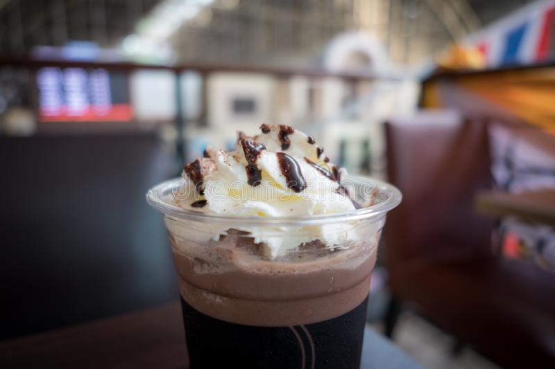 Chocolate frappe with whipped cream. stock photo