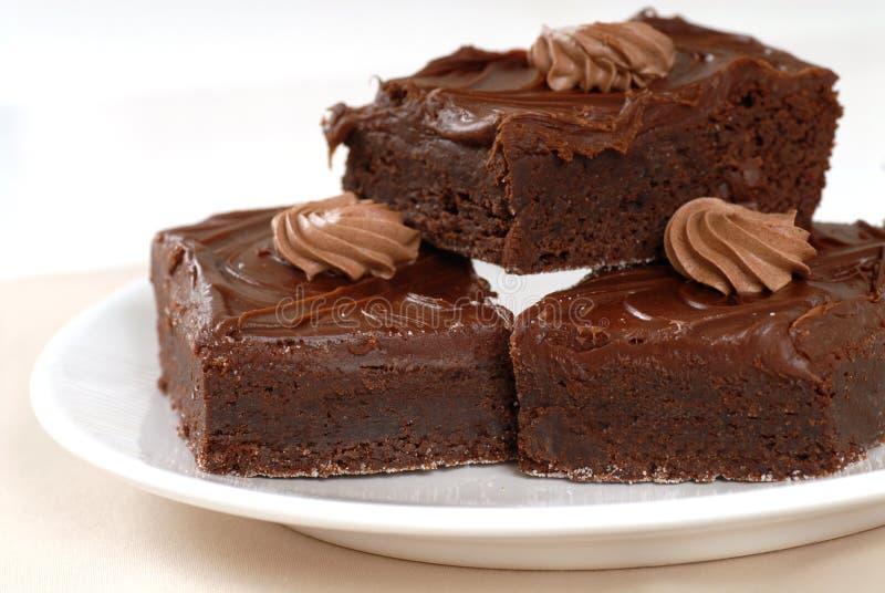 Chocolate fudge brownies stock photography