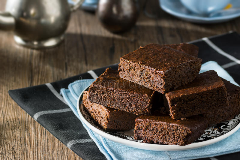 Chocolate Fudge Brownies with Hot Tea royalty free stock photo