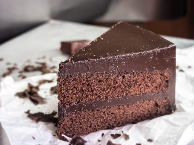 Chocolate fudge cake,selective focus stock photo