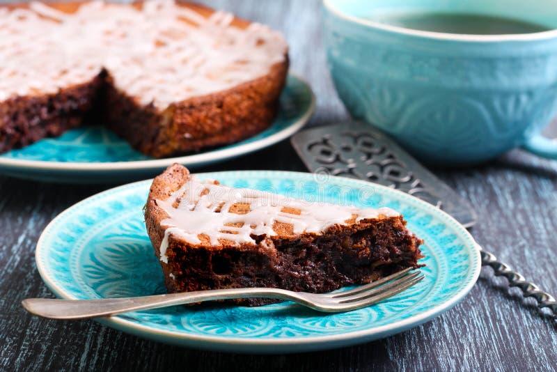 Chocolate fudge cake slice royalty free stock photo