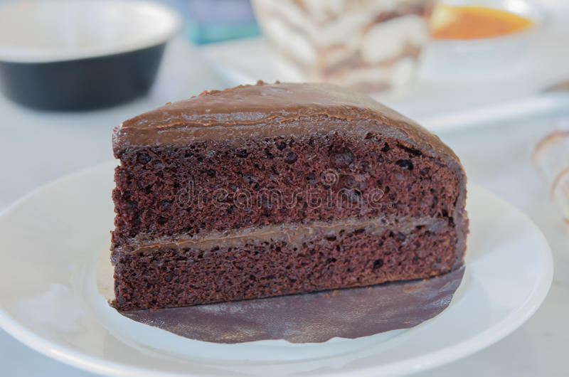 Chocolate fudge cake royalty free stock photo