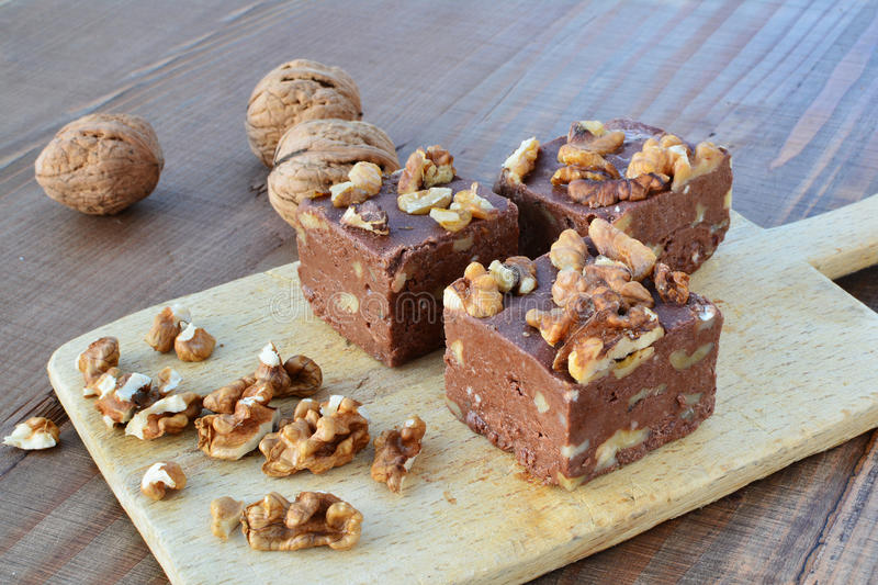 Chocolate fudge with walnuts royalty free stock photography