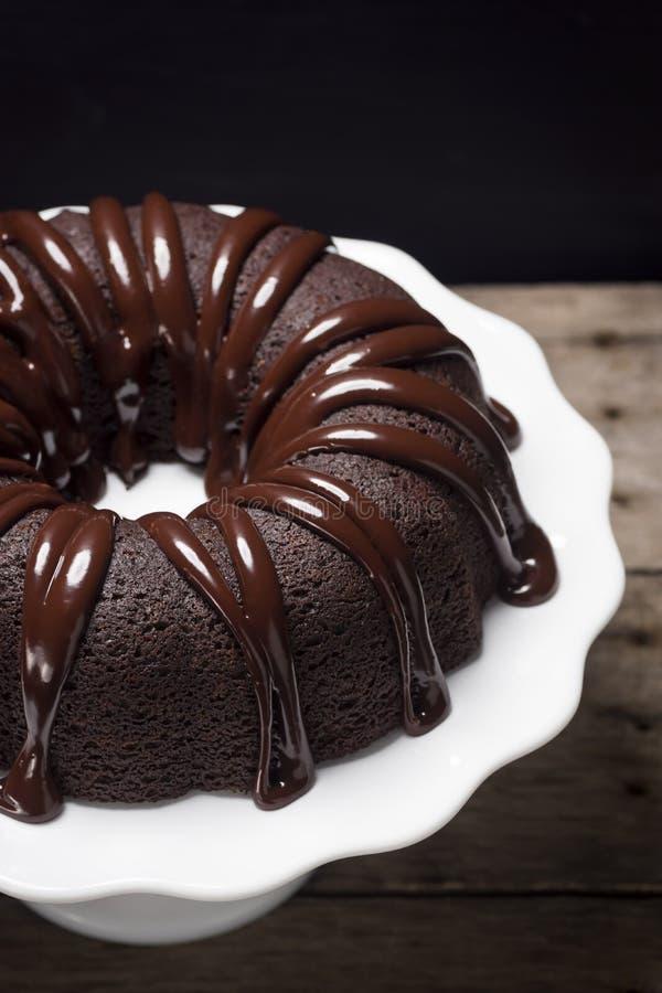 Free Chocolate Ganache Bundt Cake Slice Royalty Free Stock Images - 53880859