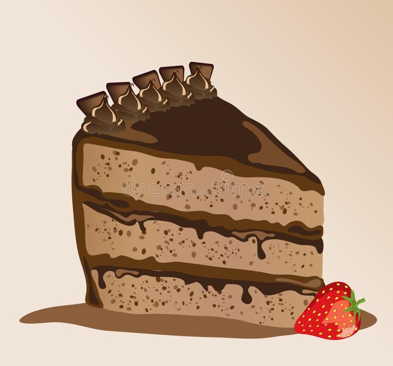 Chocolate gateau. A s chocolate gateau with a strawberry stock illustration