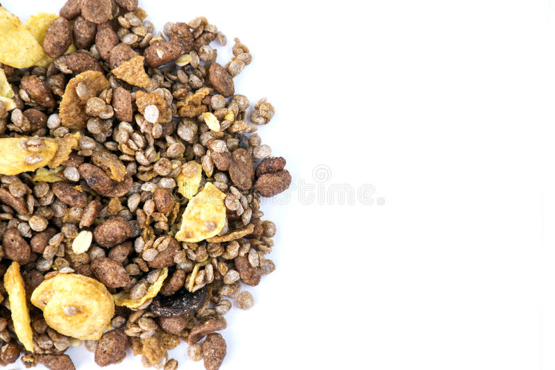 Chocolate Granola Muesli. Isolated on white background royalty free stock photo