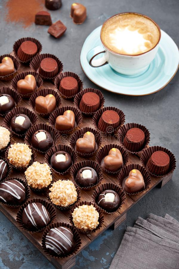 Chocolate handmade candies, pralines and truffles in assortment. stock images