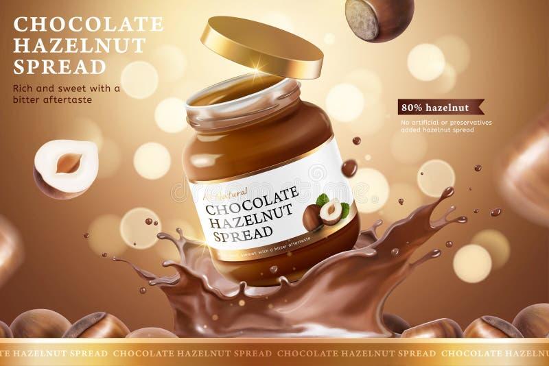 Chocolate hazelnut spread ads vector illustration