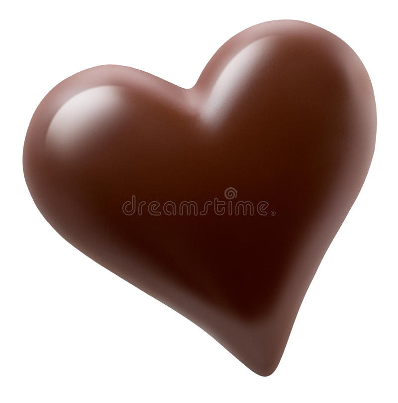 Chocolate heart isolated on a white background stock images