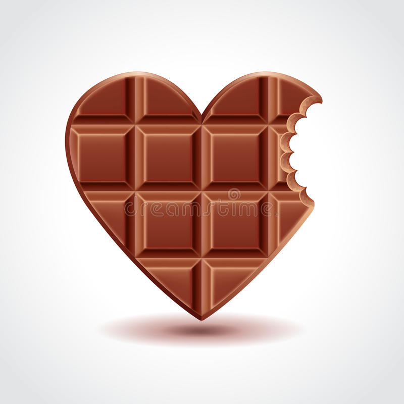 Chocolate heart love concept, vector illustration. Chocolate heart love concept, photo realistic vector illustration stock illustration