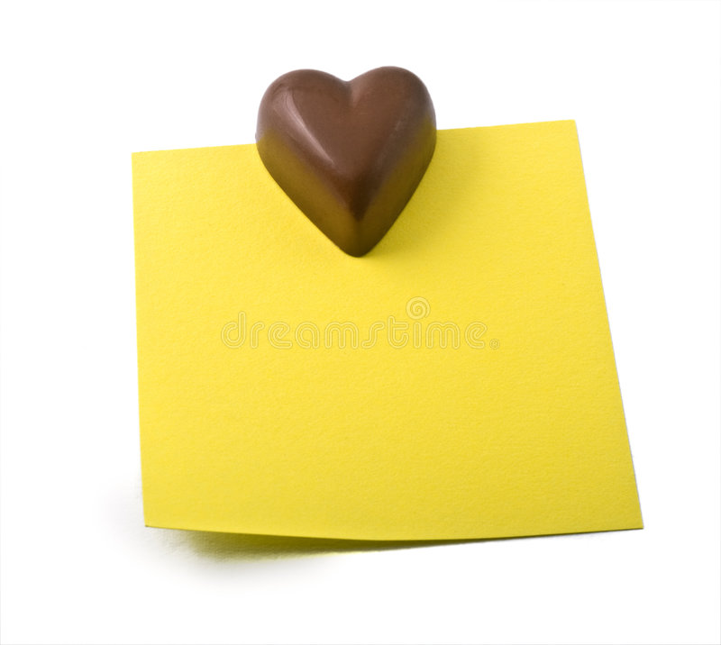 Download Chocolate heart note stock image. Image of close, sticky - 7257607