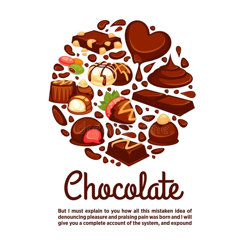 Chocolate heart poster template of confectionery desserts and truffle candy stock illustration