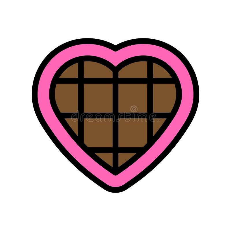 Chocolate heart vector illustration, filled style icon editable outline. Chocolate heart vector illustration, filled design icons editable outline royalty free illustration