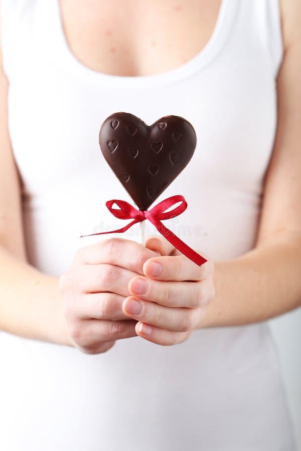 Chocolate heart stock photos