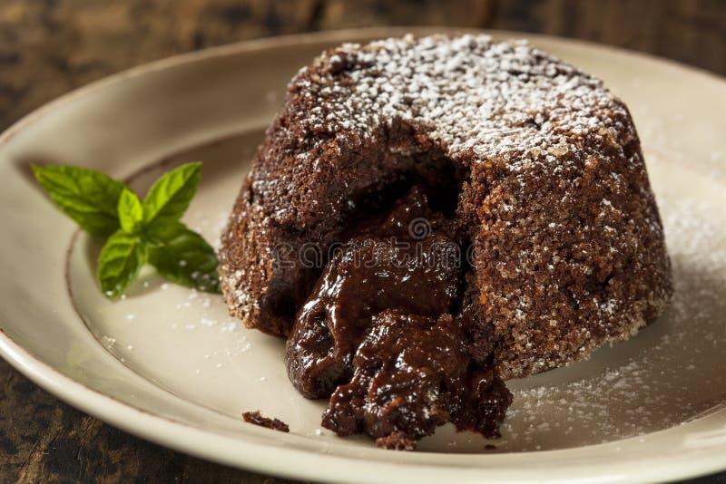Chocolate hecho en casa Lava Cake Dessert imagen de archivo
