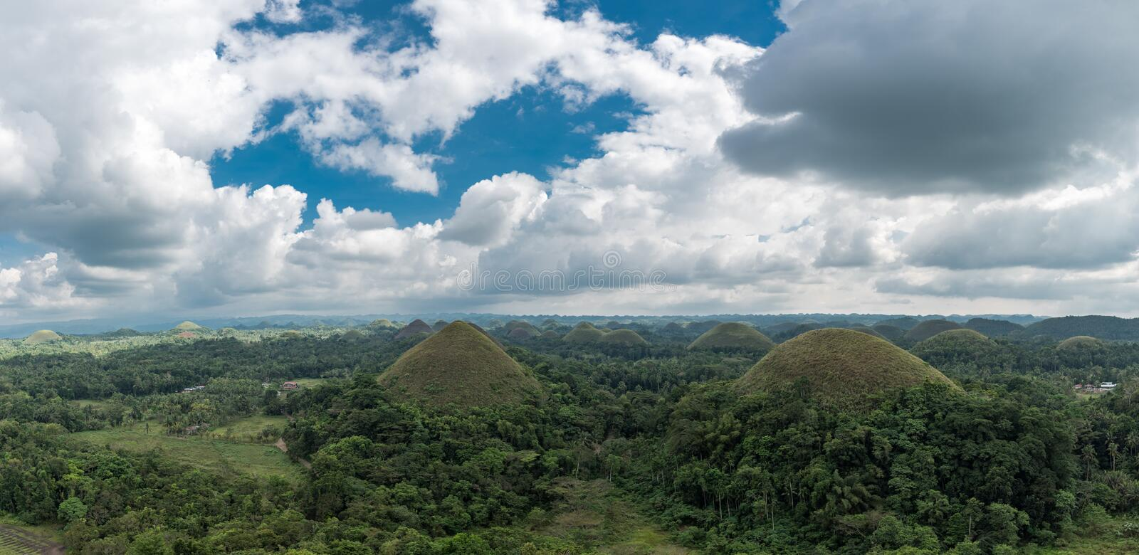 Chocolate hills in Bohokl, Philippines. There are at least 1,260 hills but there may be as many as 1,776 hills. One the most famous sightseeing object in stock photo