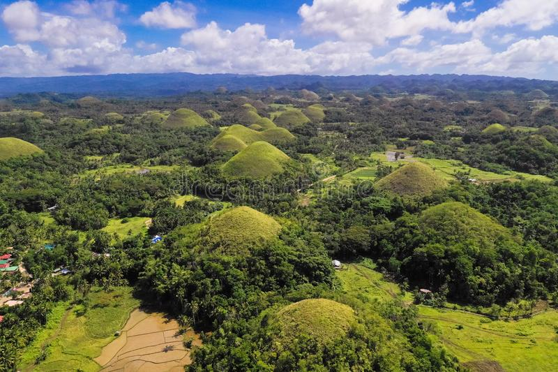 Chocolate hills, Philippines, Bohol island. Aerial view from the drone royalty free stock photography