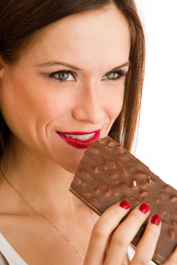 Pretty WOman Holding Big Nutty Chocolate Bar royalty free stock image
